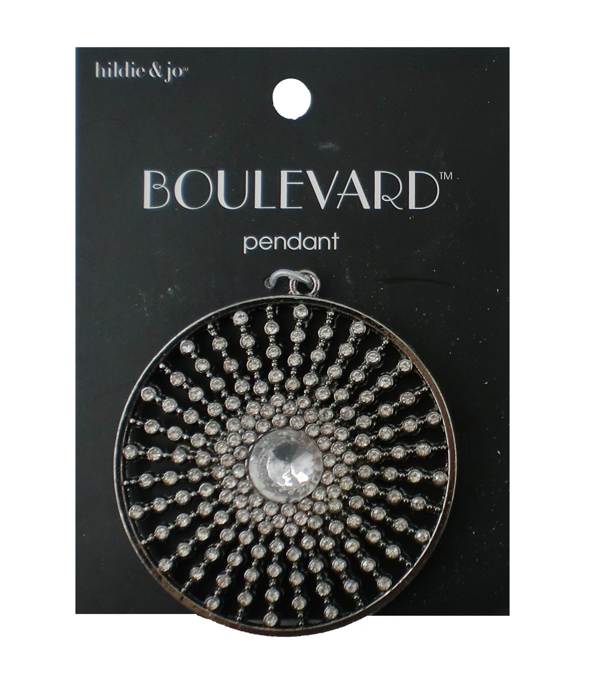 hildie & jo™ Boulevard Sunburst Silver Pendant-Clear Crystal Beads