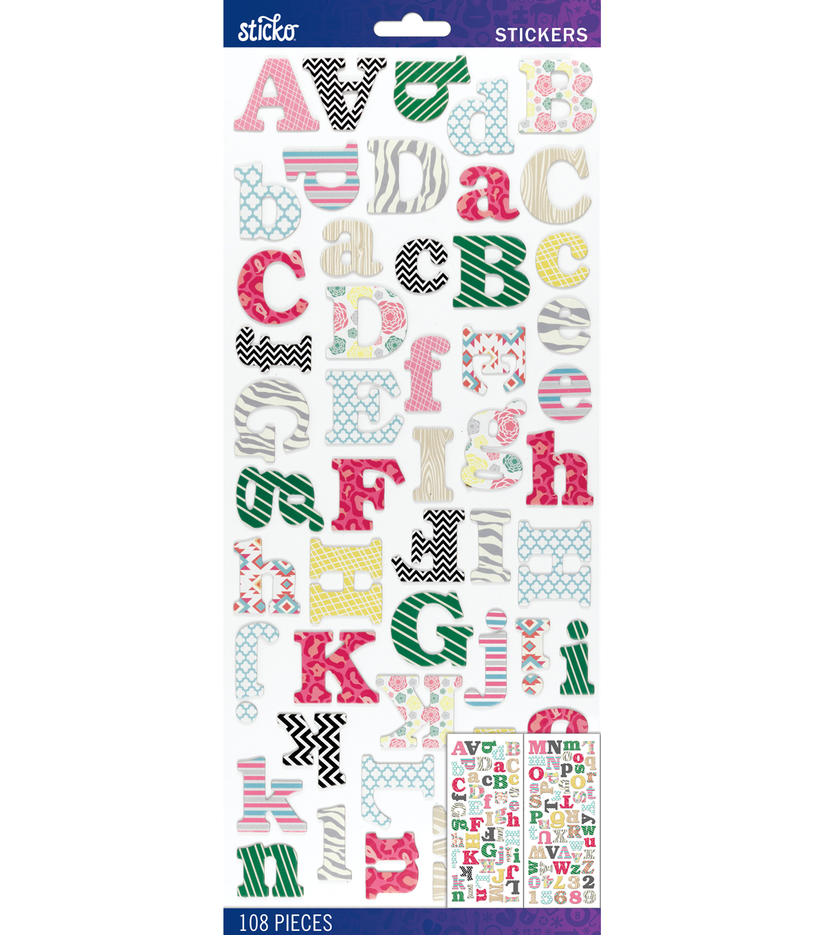 Sticko® 108 Pack Dimensional Alphabet Stickers-Multi Pattern
