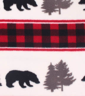 Anti-Pill Fleece Fabric 59\u0022-Bear Stripe Buffalo Check