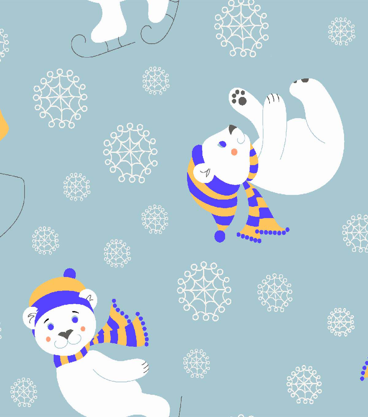 Snuggle Flannel Fabric 42\u0027\u0027-Polar Bear Fun