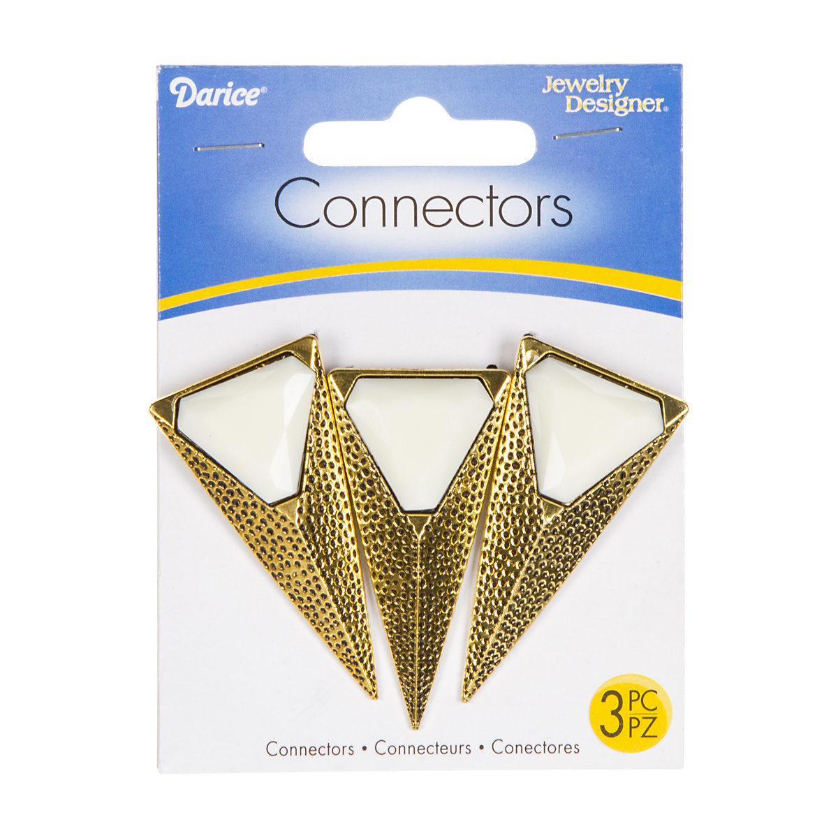 Long Triangle Connectors, Antique Gold/White, 3pc./pkg