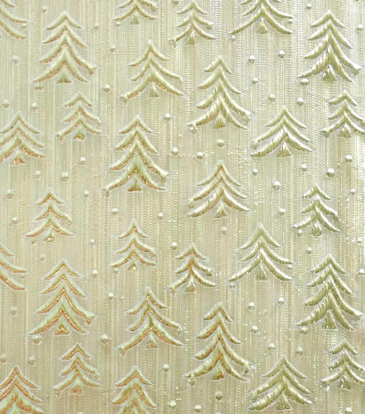 Sew Sweet Embossed Tree Lame Decorating Fabric 58\u0022-Gold