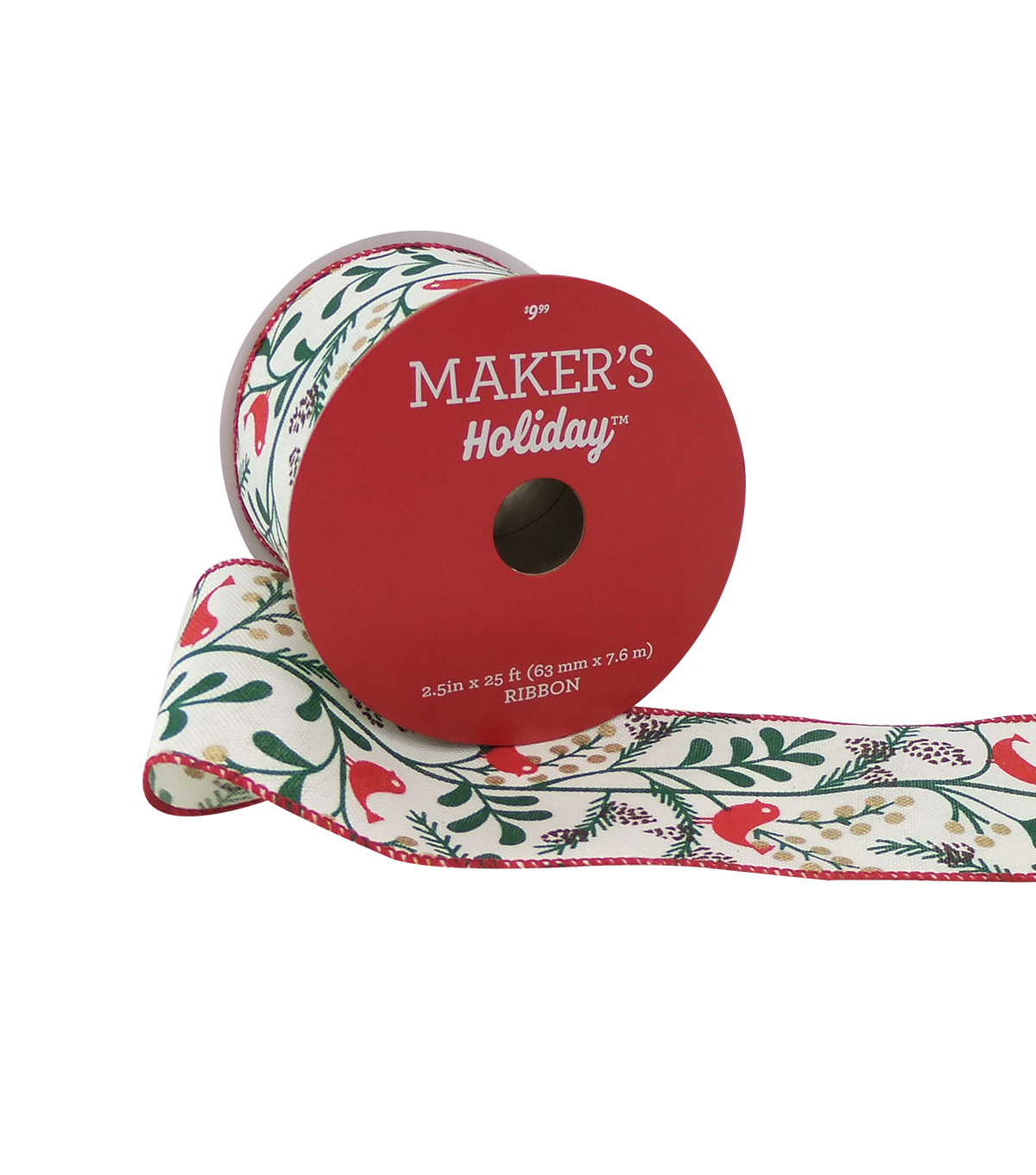 Maker's Holiday Christmas Ribbon 2.5''x25'-Red Bird on Branch