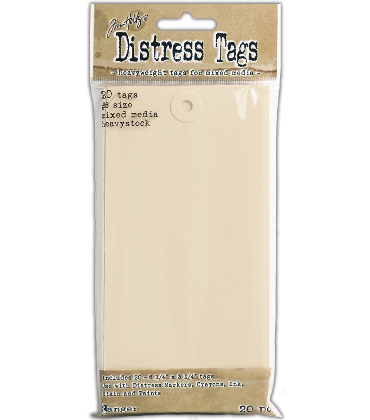 Tim Holtz® Distress Pack of 20 Mixed Media Heavystock Tags #8