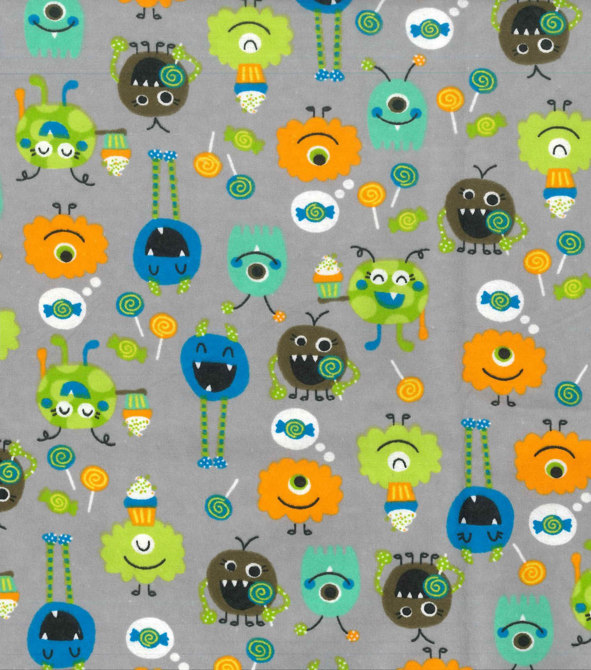 Snuggle Flannel Fabric 42\u0022-Sweet Tooth Monsters
