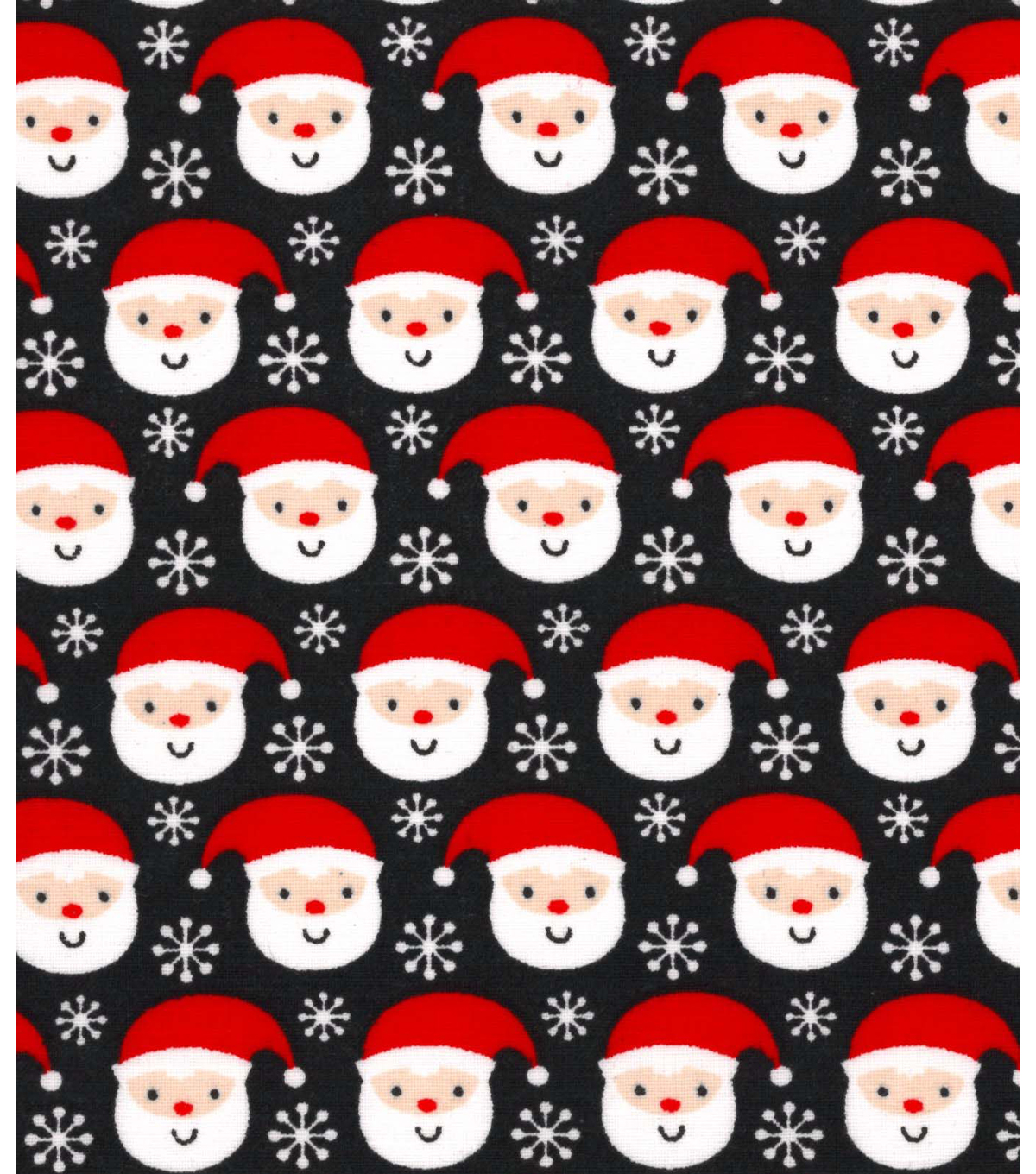 Holiday Showcase™ Christmas Cotton Fabric 43\u0027\u0027-Ditsy Santa & Snowflakes on Black