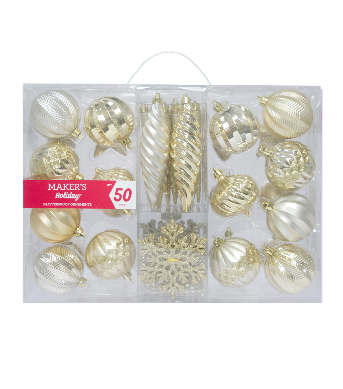 Maker\u0027s Holiday Christmas 50 pk Shatterproof Ornament-Gold & Silver