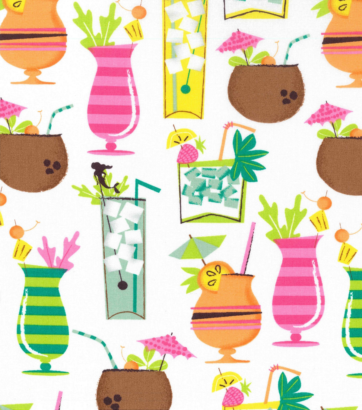 Novelty Cotton Fabric 43\u0022-Tropical Drinks