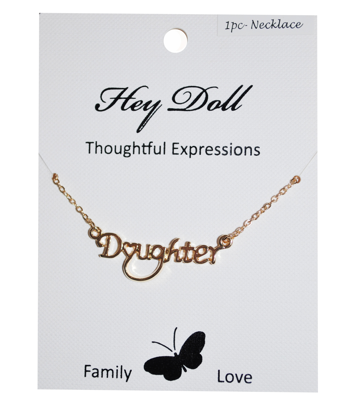 Hey Doll Gold Daughter Small Heart Necklace