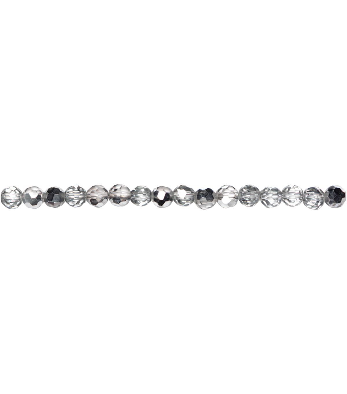 Jewelry Basics Glass Beads 6mm 48/Pkg-Silver Mirror Round