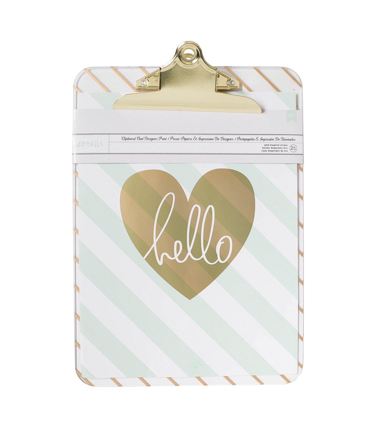 American Crafts™ Designer Print Clipboard-Gold Diagonal Stripe