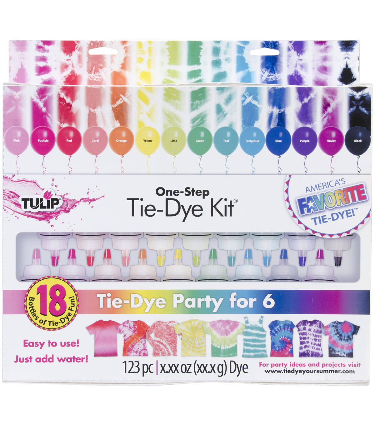 Tulip® One-Step Tie-Dye Kit Party for 6