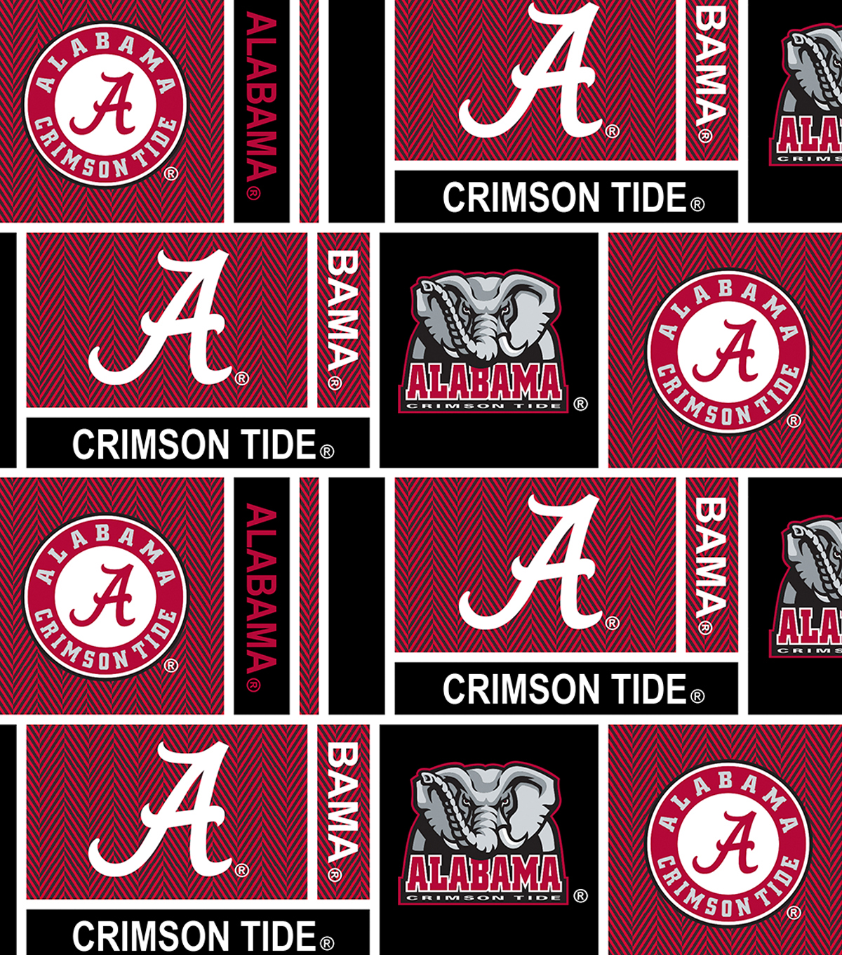 "University of Alabama Crimson Tide Cotton Fabric 44""-Herringbone"
