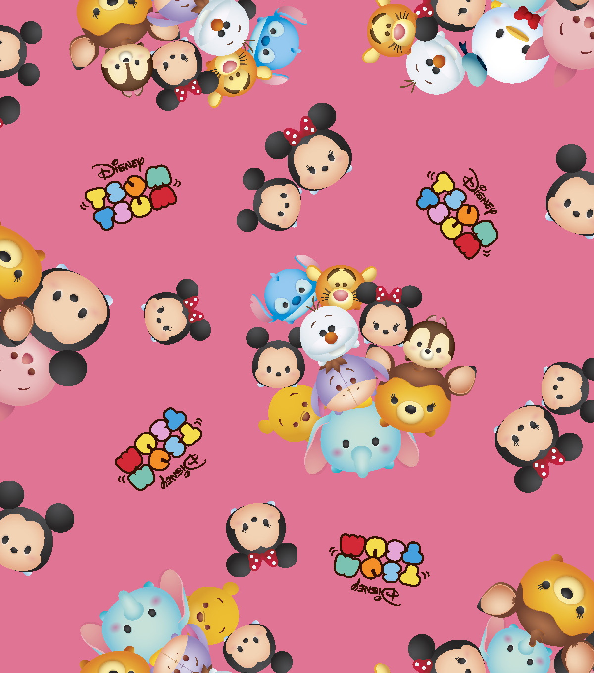 Tsum Tsum Cotton Fabric 43\u0022-Group Toss