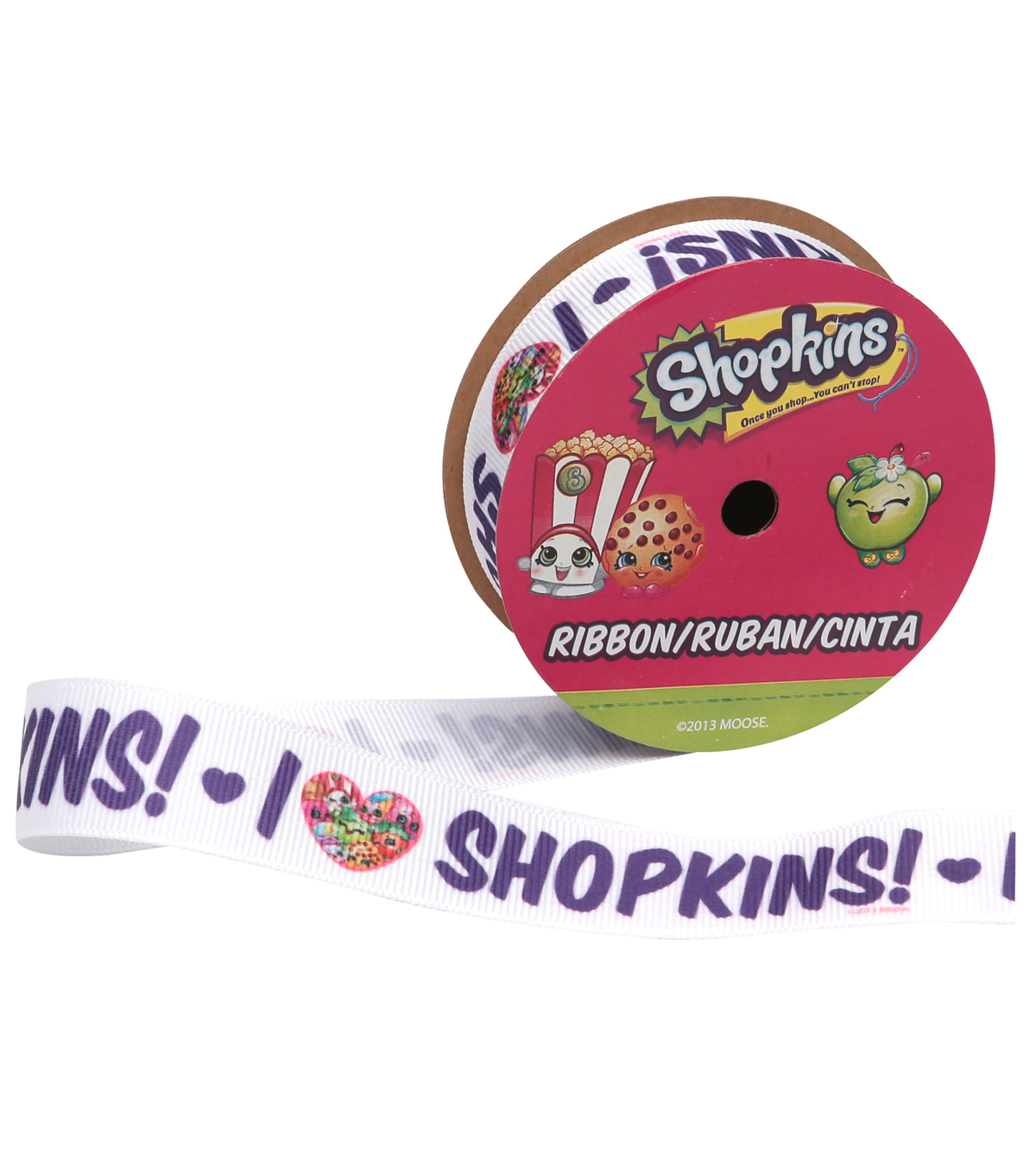 Offray 7/8\u0022x9\u0027 Shopkins I Love Character Ribbon-Multi
