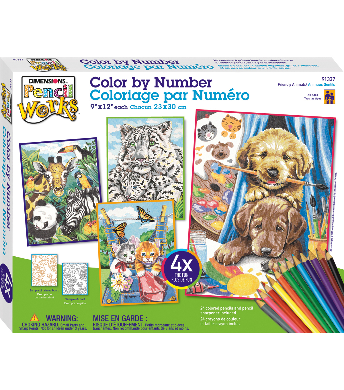 Dimensions Pencil Works Color By Number Kit-Friendly Animals
