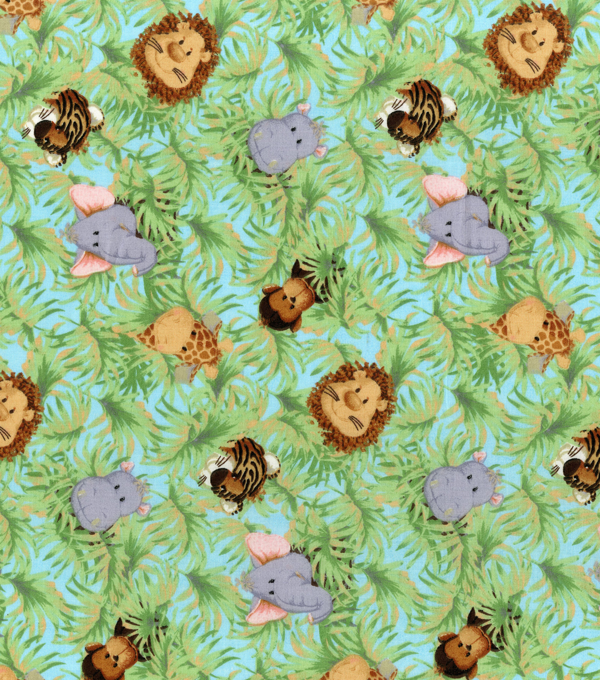 Nursery cotton fabric 44 jungle babies joann for Nursery fabric sale