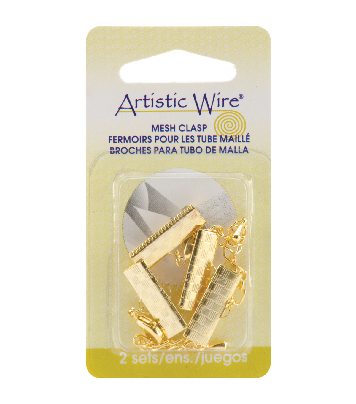 Artistic Wire Mesh Clasps 18mm 2 Sets/Pkg-Gold Color