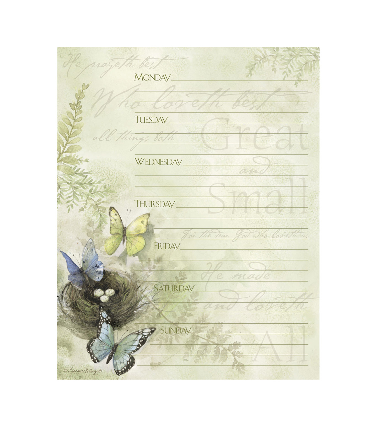 Susan Winget All Things Great And Small Jumbo Weekly Planner