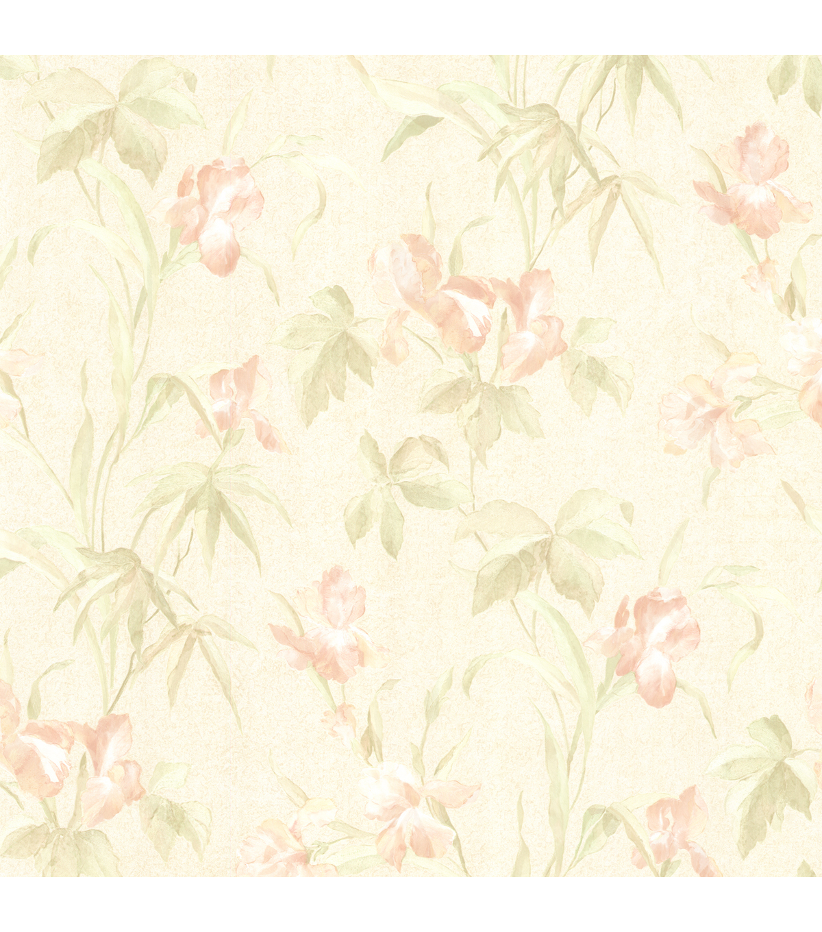 Yvonne Peach Satin Iris Wallpaper
