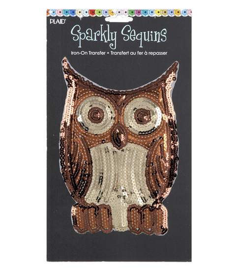 Plaid® Sparkly Sequins Iron On Transfers-Owl