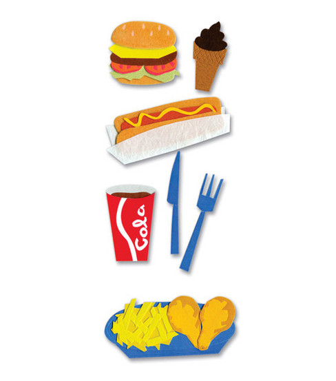 A Touch of Jolees Dimensional Stickers-Fast Food