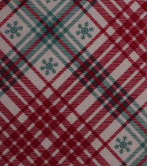 Christmas Cotton Fabric 43''-Red & Green Plaid with Snowflakes