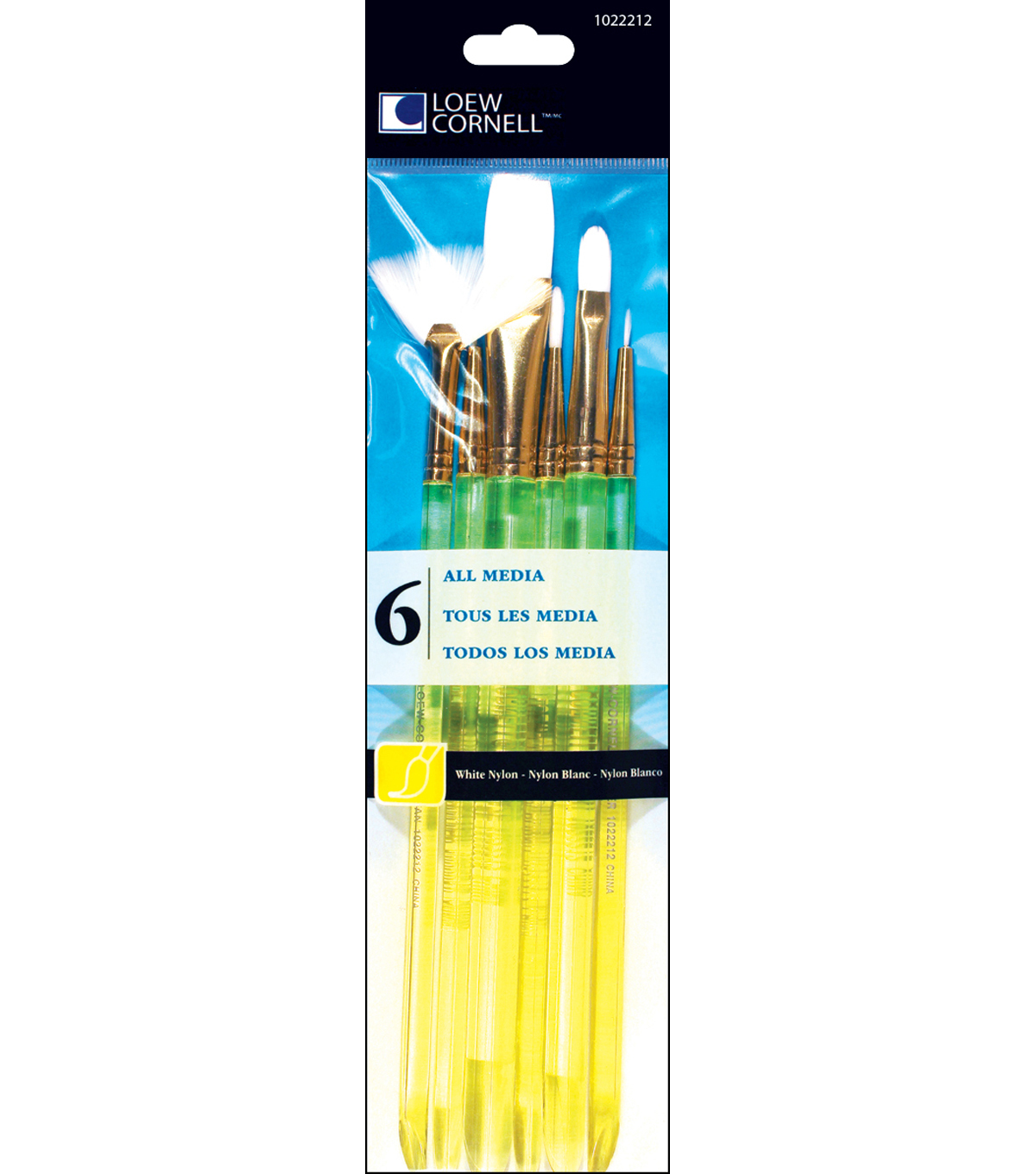 White Nylon Craft Brush Set-6/Pk