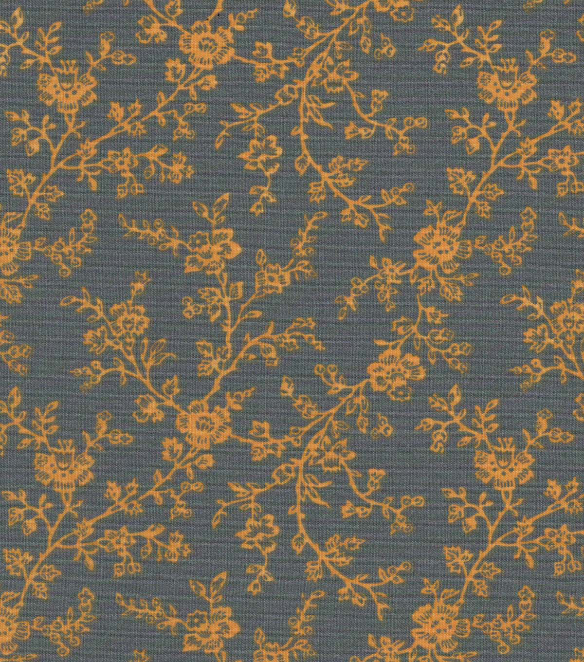 Quilter\u0027s Showcase™ Cotton Fabric 44\u0022-Yellow Gray Floral Vines