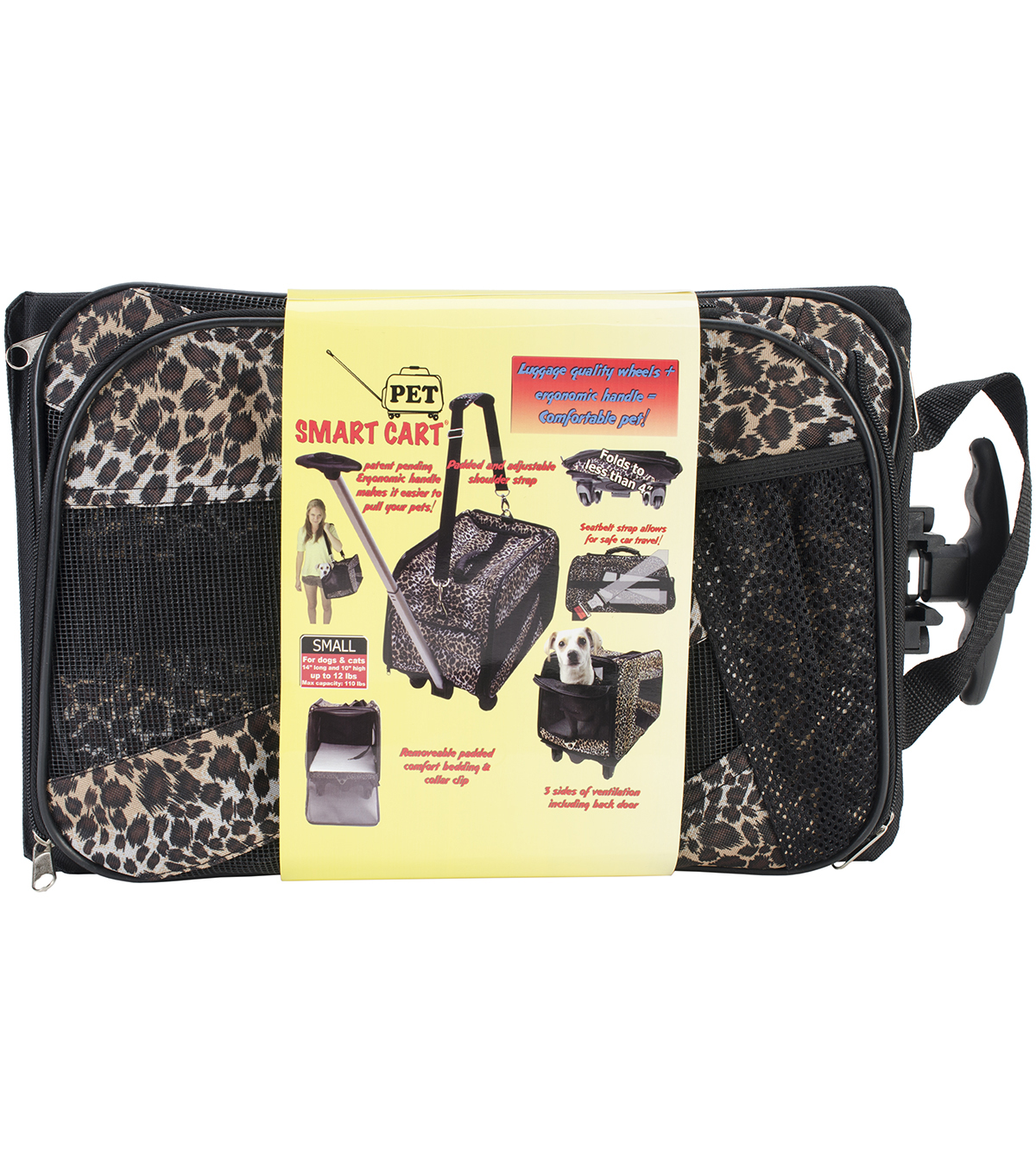 Dbest Pet Smart Cart Leopard Small Carrier 18\u0027\u0027x4\u0027\u0027x11\u0027\u0027
