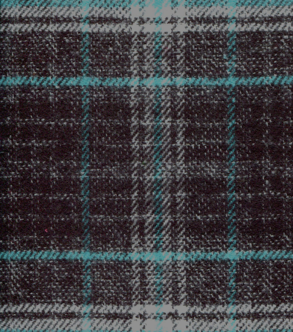 "Plaid Brush Cotton Fabric 44""-Teal & Gray"