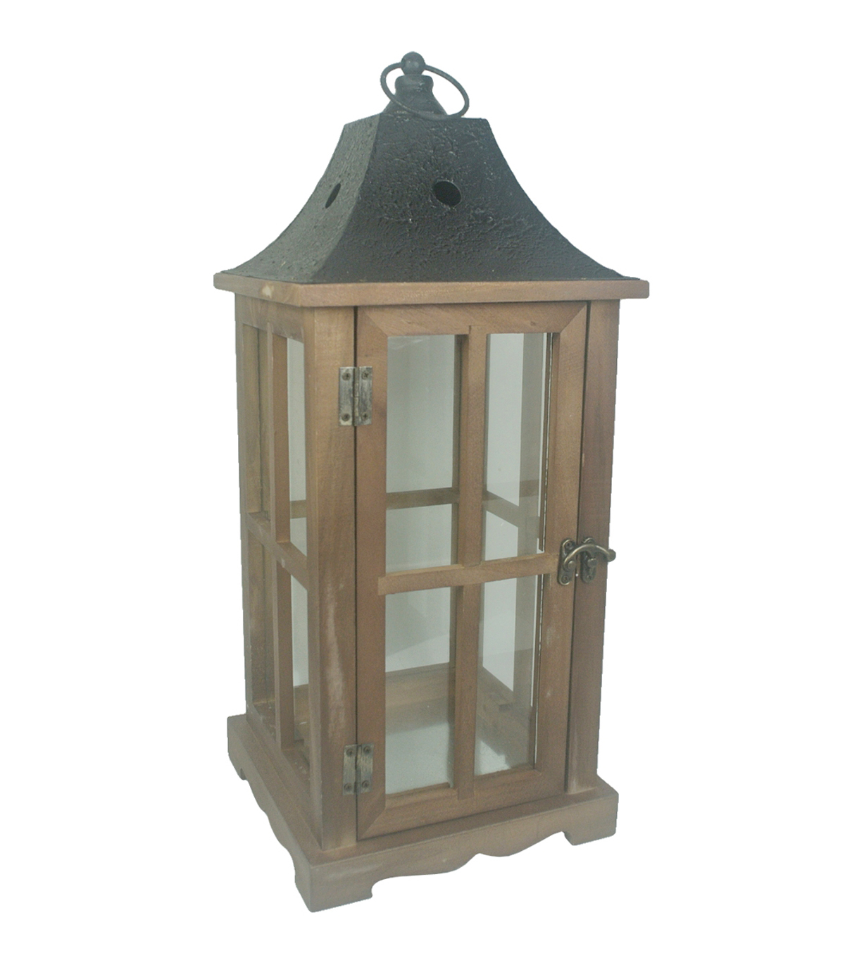 Hudson 43™ Candle & Light Collection Wooden Lantern W Iron Roof Lg