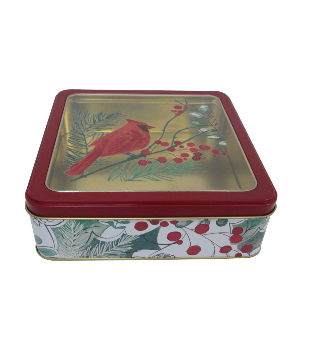 Maker\u0027s Holiday Christmas Medium Square Clear Top Cookie Tin-Cardinal
