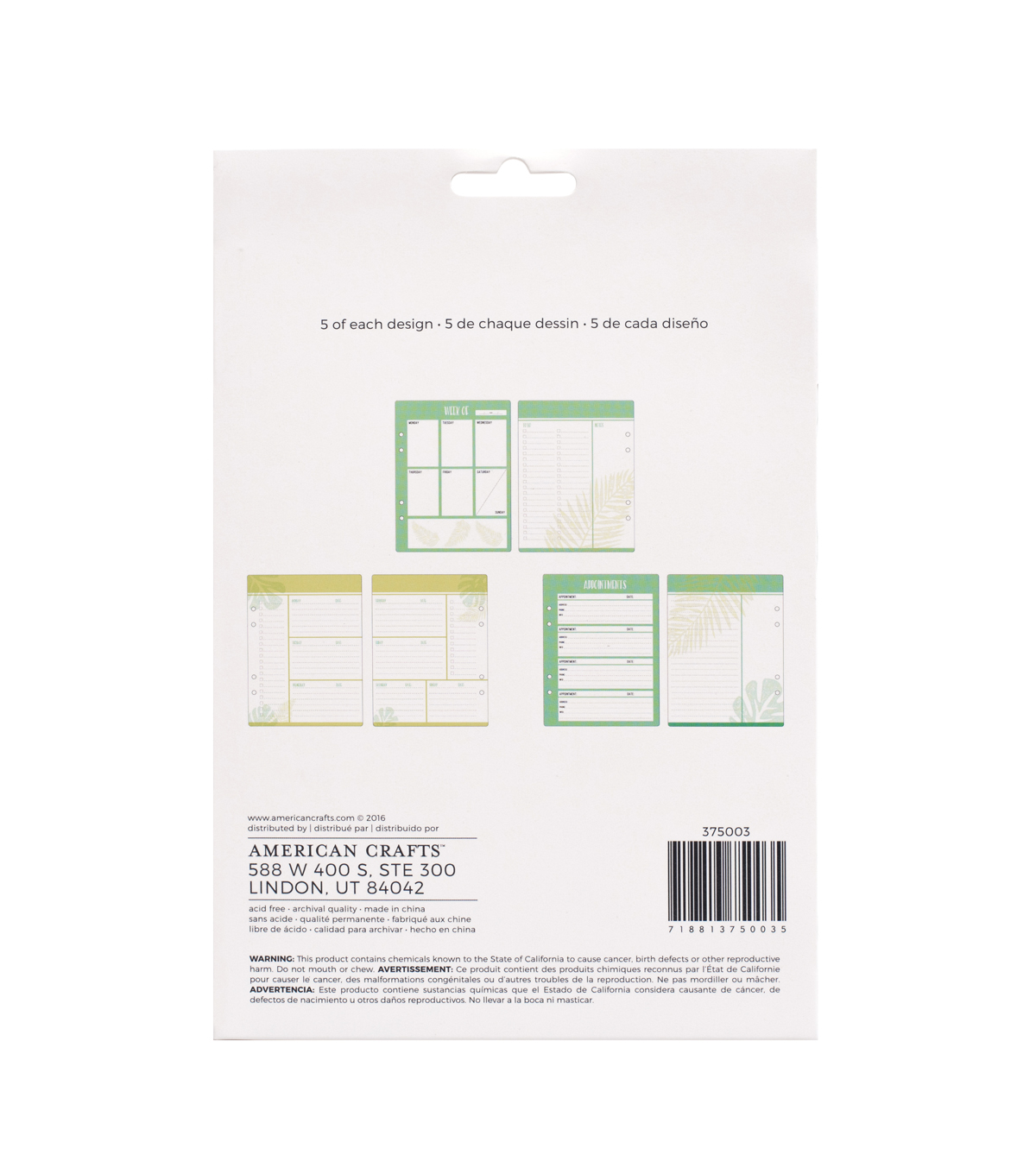 American Crafts™ 30 Pack Memory Planner Inserts-Weekly To Do
