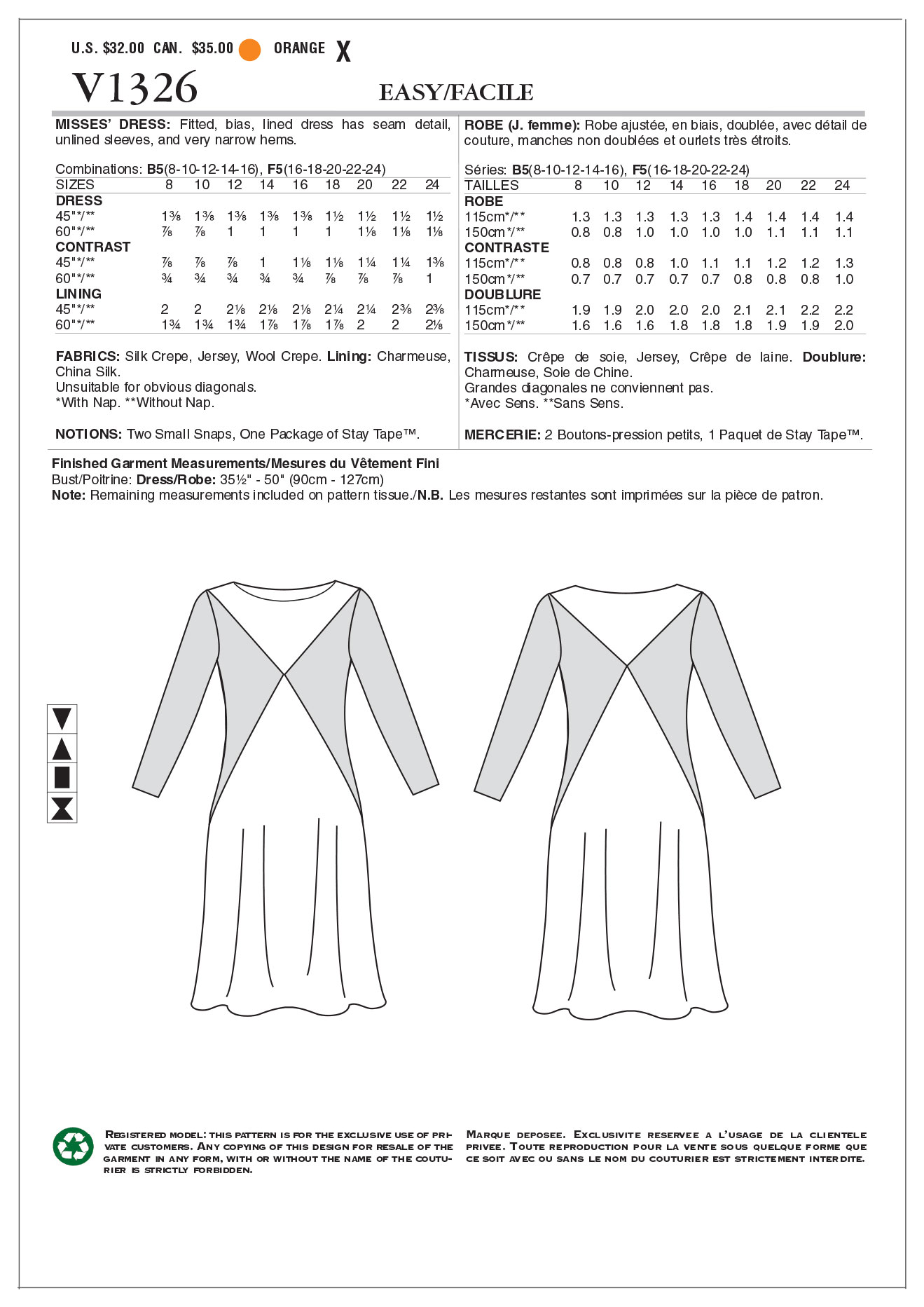 Vogue Patterns Misses Dress-V1326