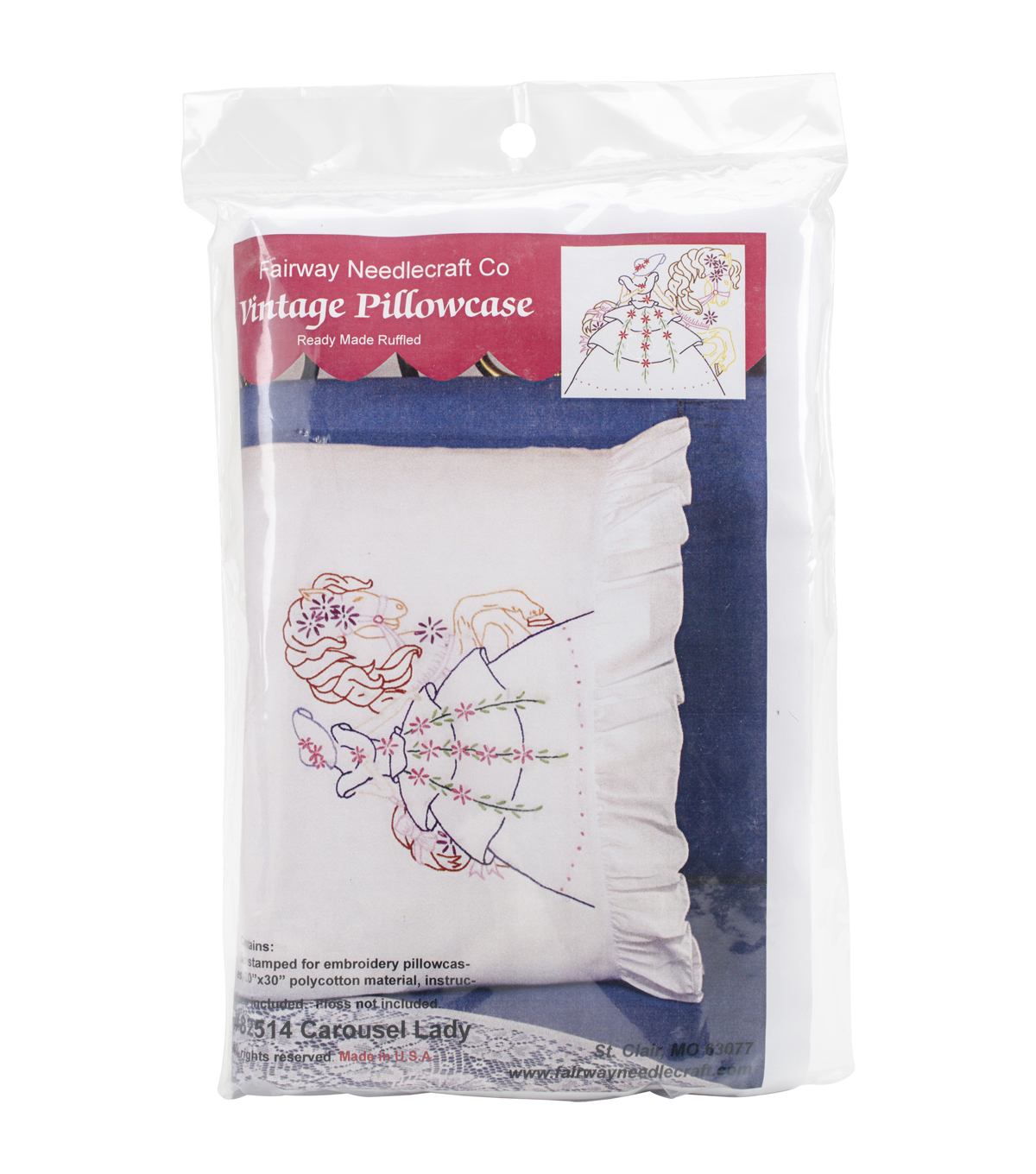 Fairway 2pcs 20\u0027\u0027x30\u0027\u0027 StampedRuffled Edge Pillowcases-Carousel Lady