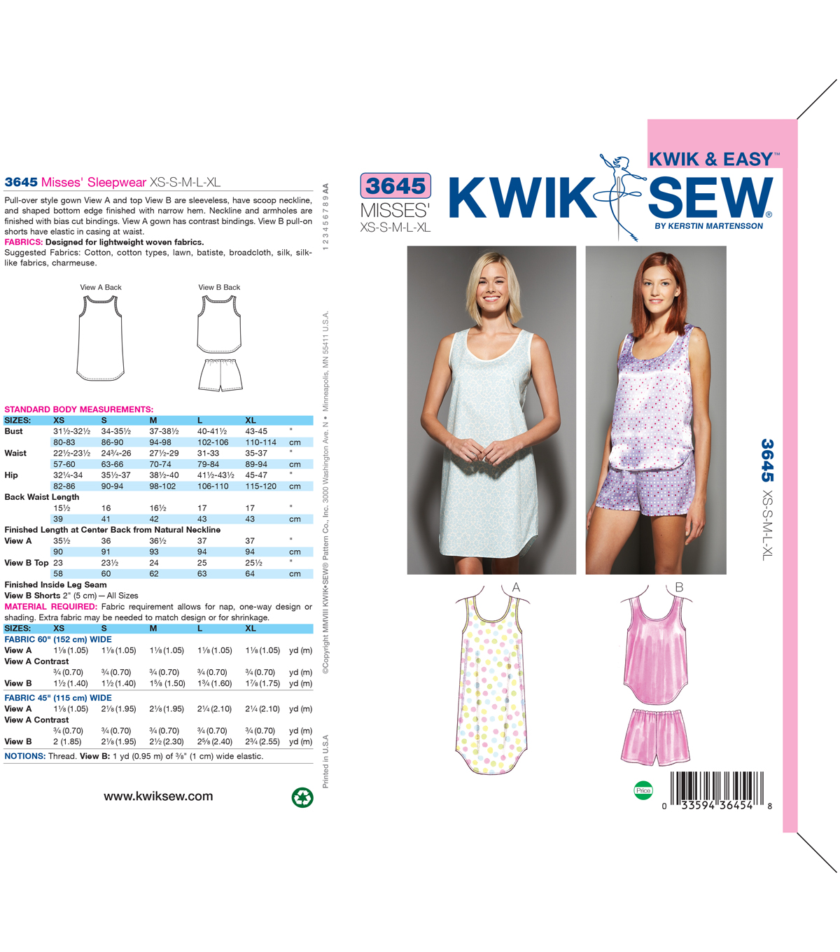 Kwik Sew Misses Sleep & Lounge-K3645