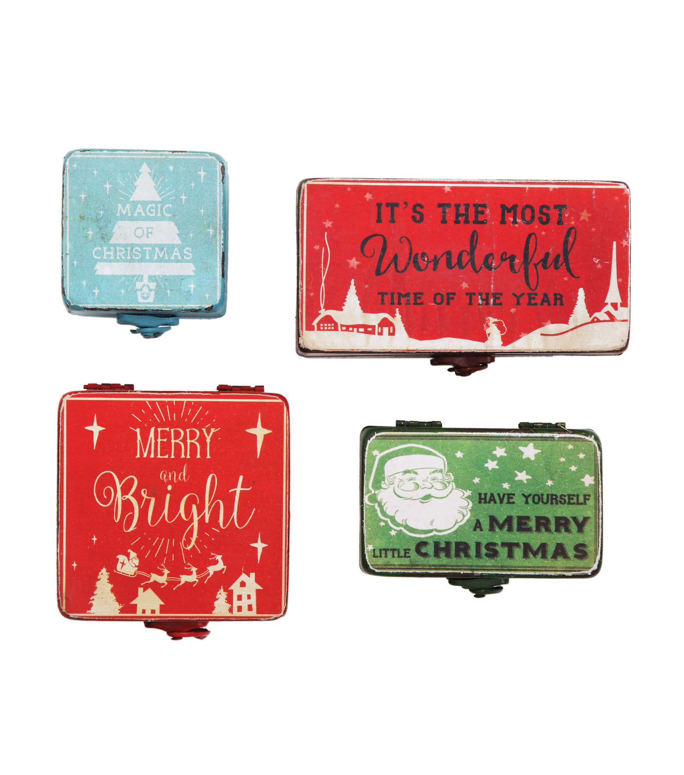 3R Studios Christmas 4 pk Metal Boxes