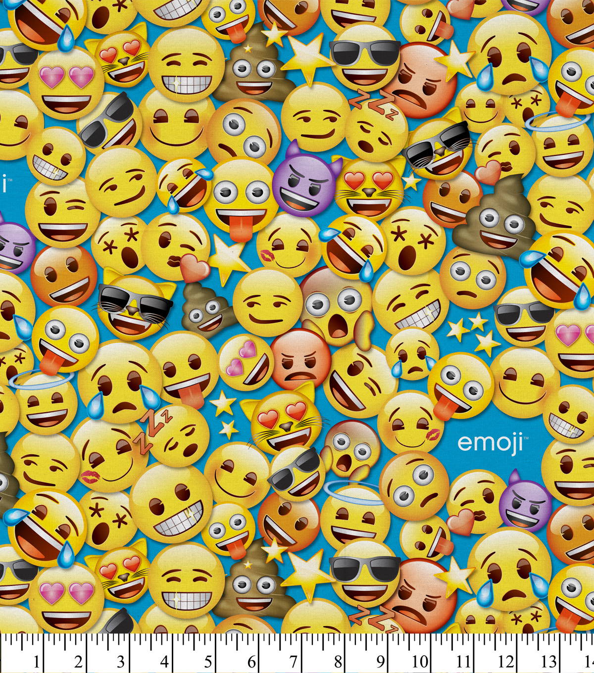 Emoji Flannel Fabric 43\u0027\u0027-Smiley Packed