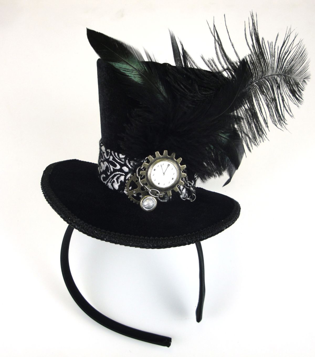Maker\u0027s Halloween Velvet Fascinator with Brocade-Black