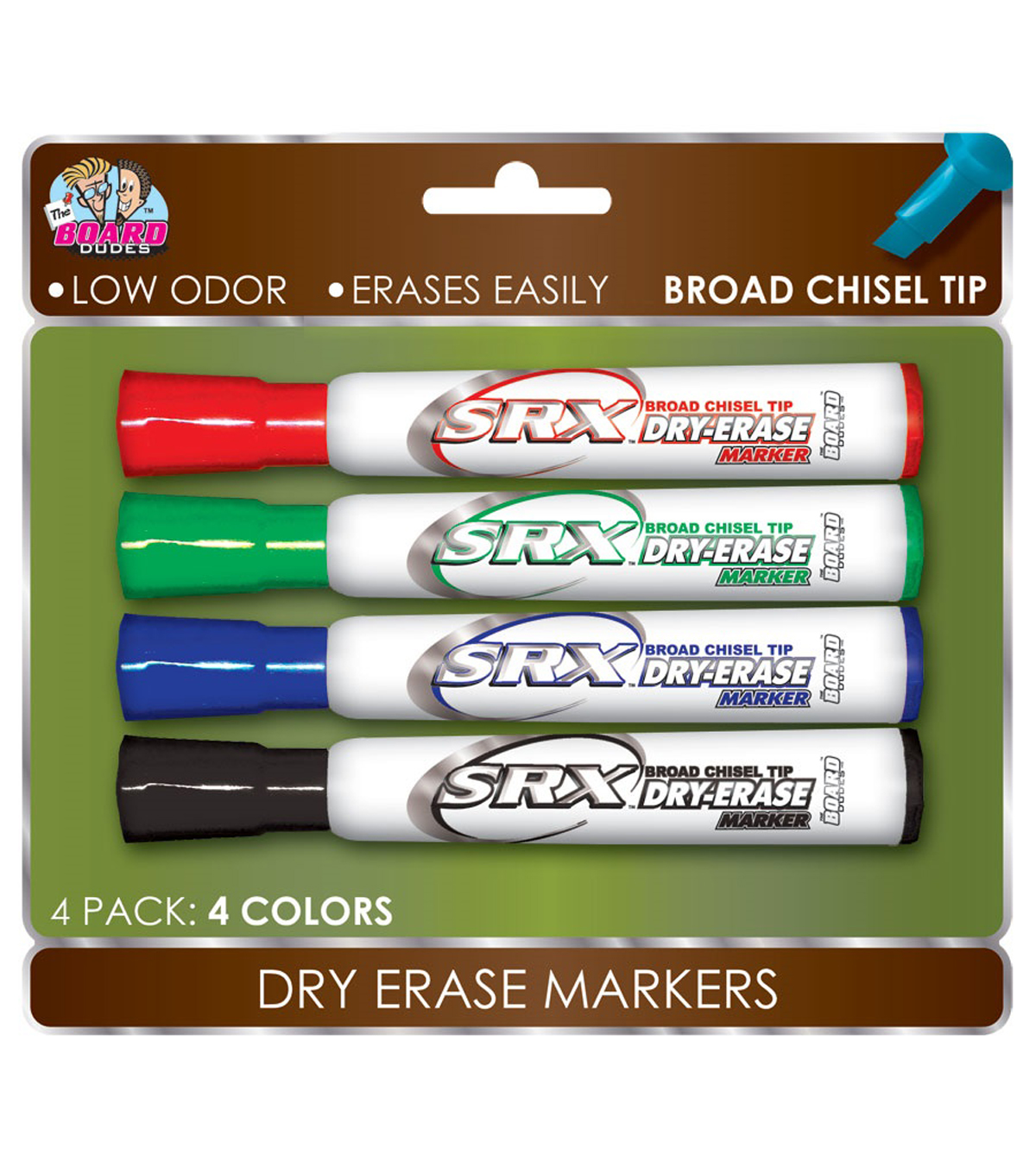 The Board Dudes™ 4 pk SRX Broad Chisel Tip Dry Erase Markers