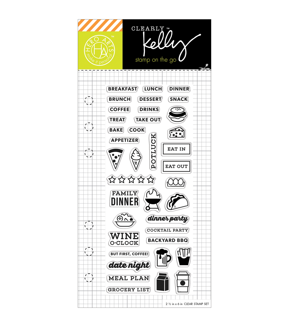"Kelly Purkey Clear Stamps 2.5""X6""-Food Planner"