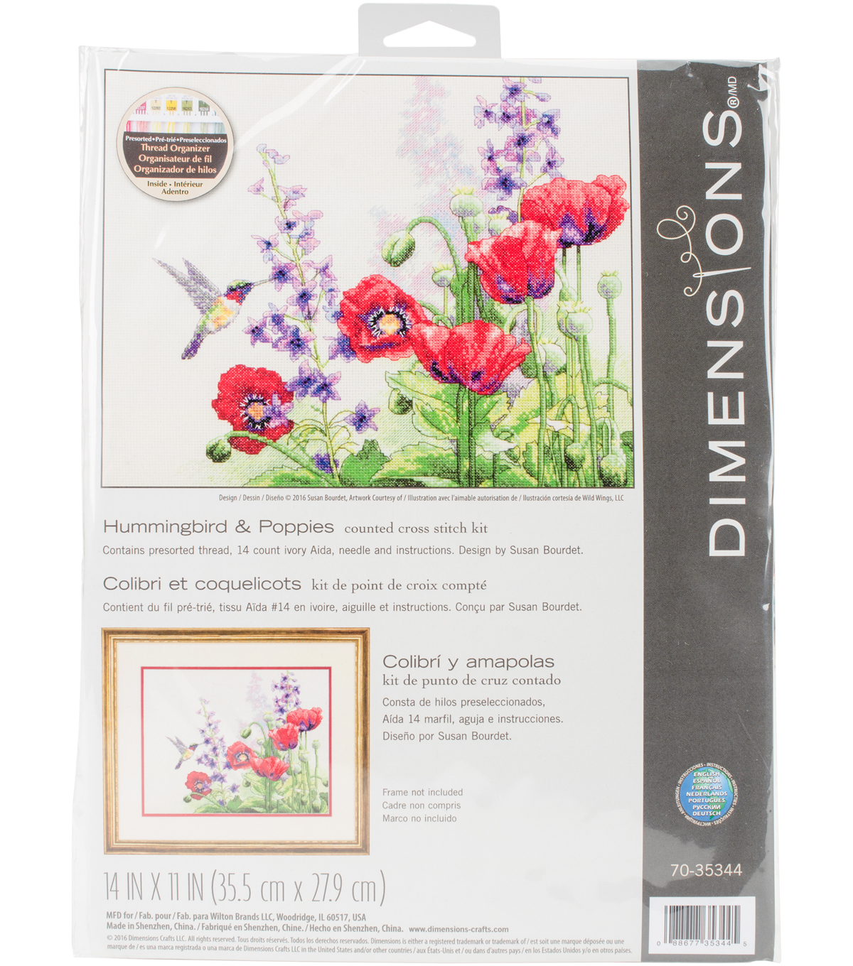 "Hummingbird & Poppies Counted Cross Stitch Kit-14""X11"" 14 Count"