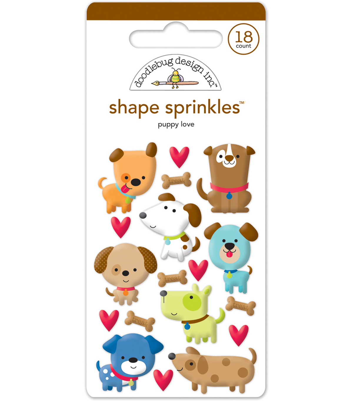 Doodlebug Sprinkles Adhesive Glossy Enamel Shapes-Puppy Love Shapes
