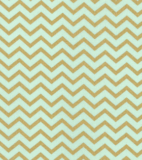 Keepsake Calico Cotton Fabric - Metallic Chevron Mint Gold