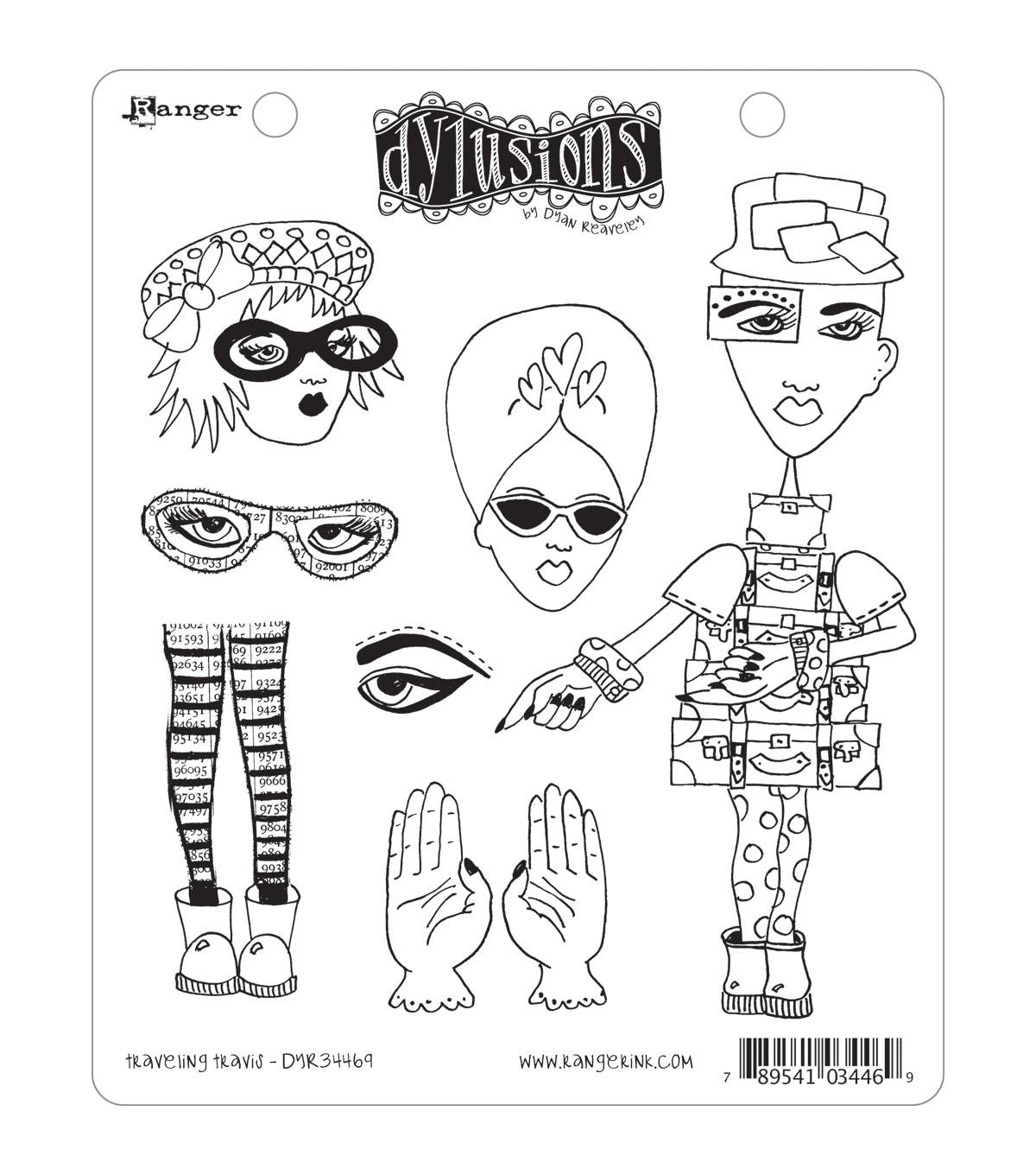 Dyan Reaveley\u0027s Dylusions Cling Stamp Collection-Traveling Travis