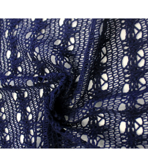 Open Crochet Knit Solid Fabric 58\u0022-Navy