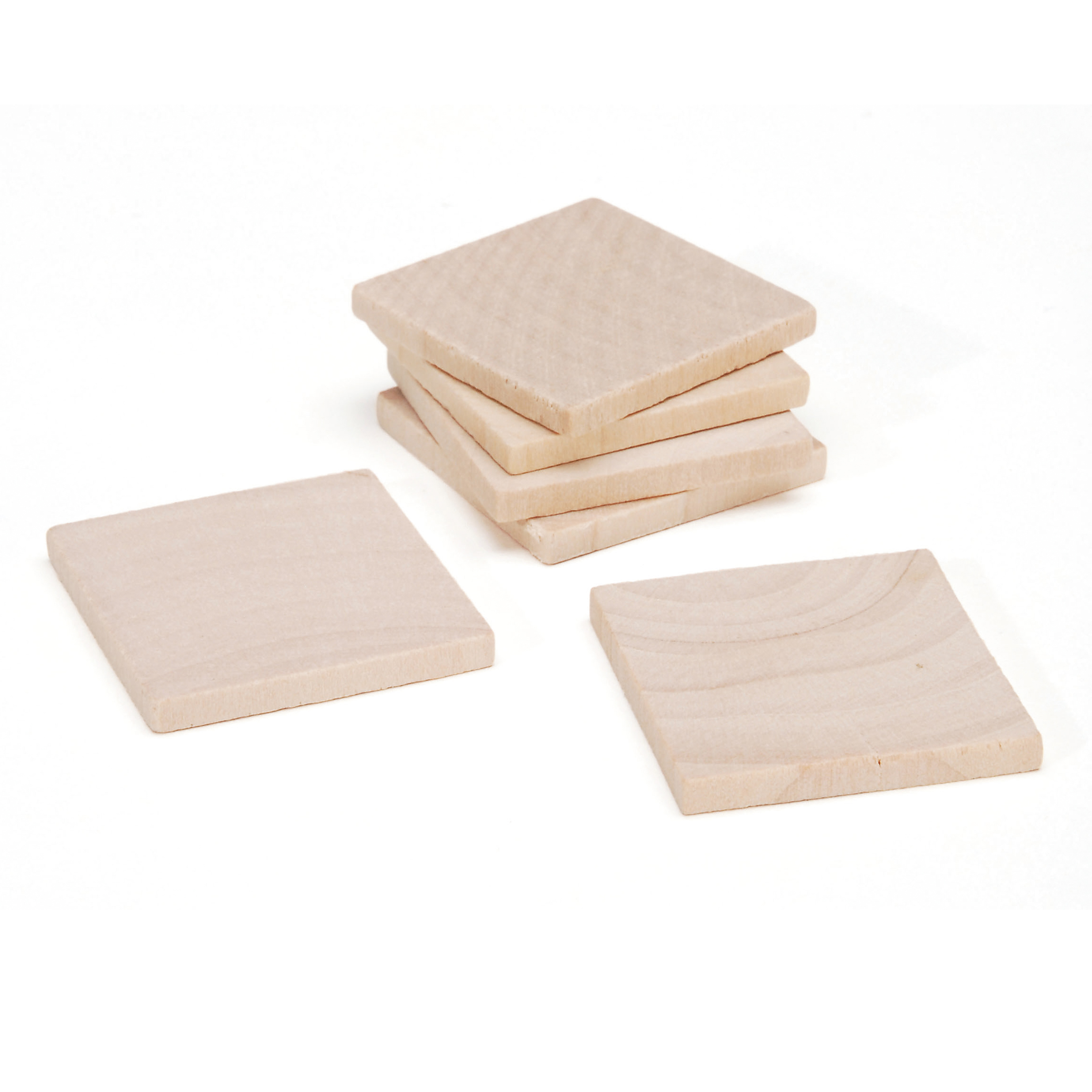 Unfinished Wood Square 1-1/4 x 1/8 inch 6 pcs./pkg
