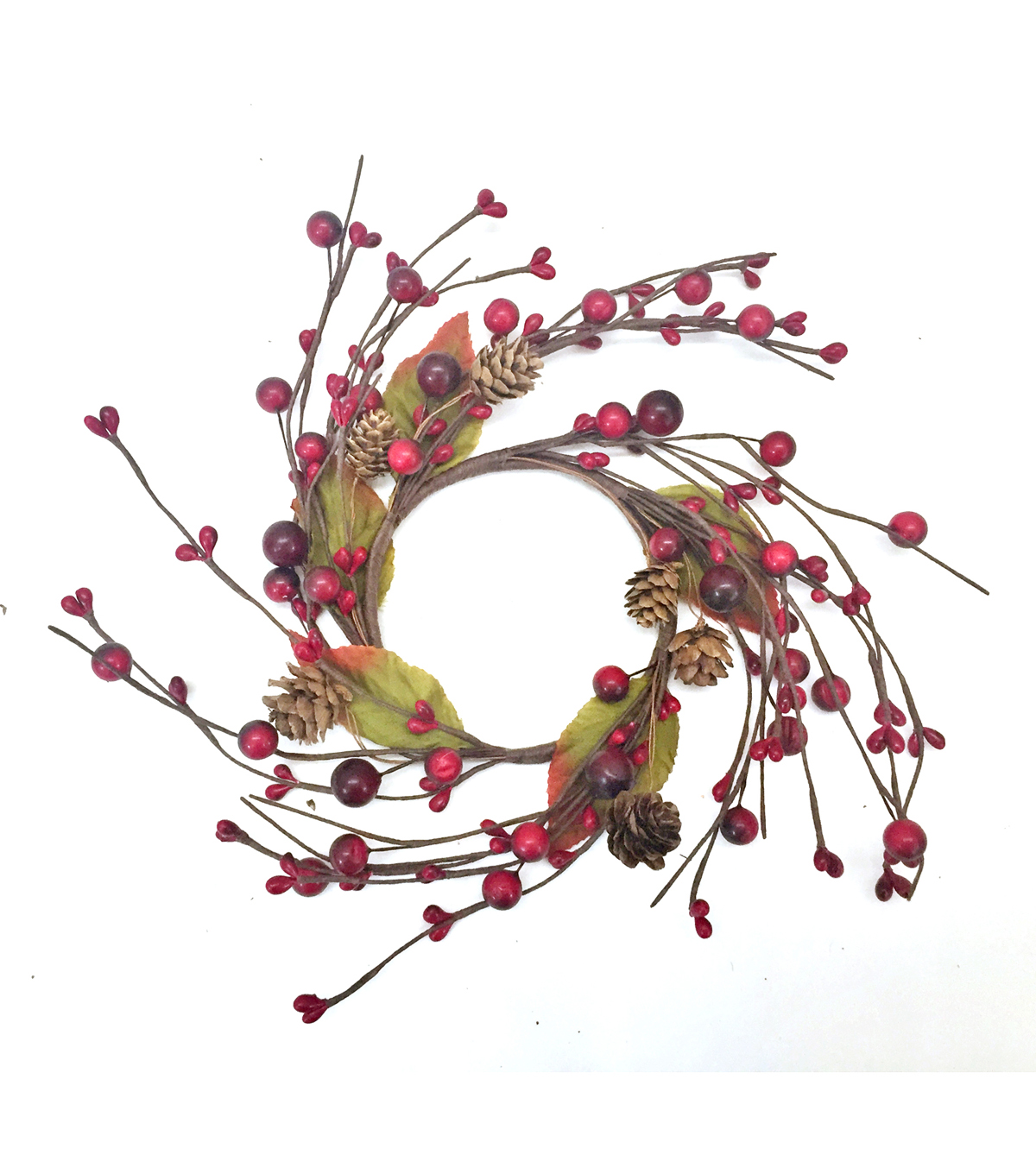 Blooming Autumn 6\u0027\u0027 Berry & Pinecone Mini Wreath-Dark Red