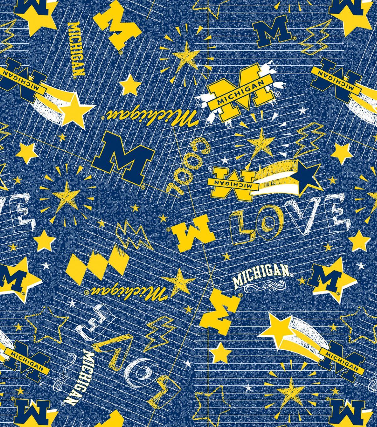 "University of Michigan Wolverines Jersey Flannel Fabric 58""-Spirit"